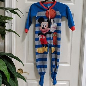 Disney Mickey Mouse Boy's Size 4T Footed Pajamas